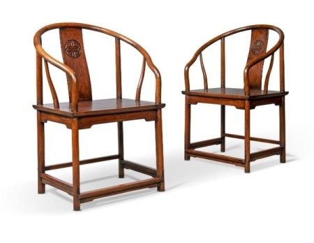 A PAIR OF CHINESE HONGMU HORSESHOE-BACK CHAIRS EARLY 20TH CENTURY