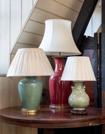 A GROUP OF THREE CHINESE PORCELAIN VASES, MOUNTED AS LAMPS 19TH/20TH CENTURY