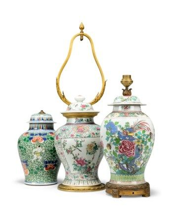 A GROUP OF THREE CHINESE PORCELAIN VASES AND COVERS, MOUNTED AS LAMPS 19TH/ 20TH CENTURY