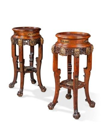 A PAIR OF FRENCH ORMOLU-MOUNTED MAHOGANY 'JAPONISME' STANDS LATE 19TH CENTURY