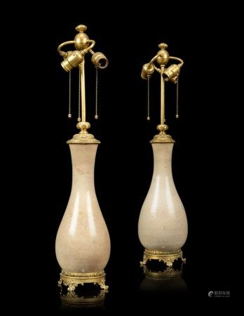 A PAIR OF FRENCH 'JAPONISME' ORMOLU-MOUNTED CERAMIC VASES, MOUNTED AS LAMPS LATE 19TH CENTURY