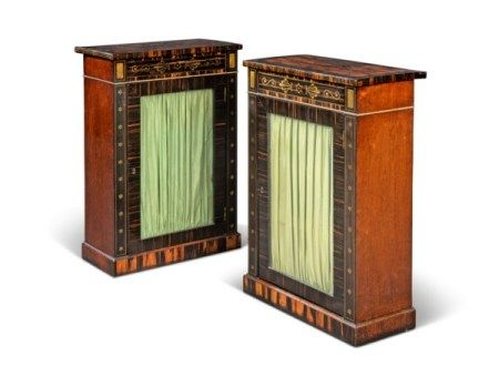 A PAIR OF REGENCY BRASS-INLAID CALAMANDER, EBONY AND INDIAN ROSEWOOD SIDE CABINETS IN THE MANNER OF GEORGE OAKLEY, CIRCA 1810