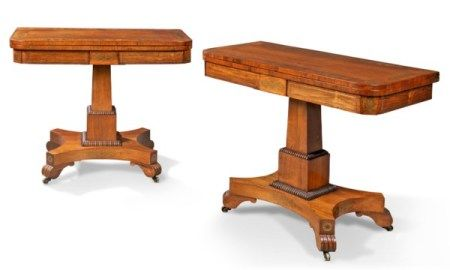 A PAIR OF GEORGE IV BRASS-INLAID ROSEWOOD CARD TABLES CIRCA 1820-1830