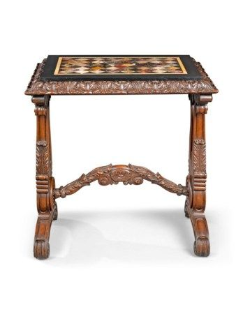 A WILLIAM IV BRAZILIAN ROSEWOOD AND SPECIMEN HARDSTONE-INLAID TABLE CIRCA 1830-1850, THE TOP DERBYSHIRE