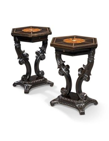 A PAIR OF CEYLONESE SPECIMEN-WOOD AND BONE-INLAID EBONY HEXAGONAL SIDE TABLES AFTER THE DESIGN BY THOMAS KING, MID-19TH CENTURY
