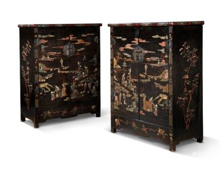A PAIR OF CHINESE MOTHER-OF-PEARL, SOAPSTONE, AND HARDSTONE-INLAID BLACK-LACQUER CABINETS 19TH CENTURY