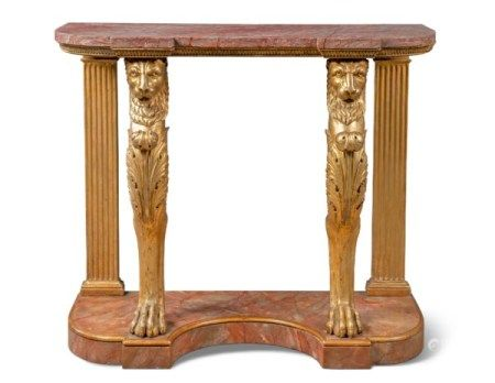A NORTH ITALIAN GILTWOOD CONSOLE TABLE EARLY 19TH CENTURY AND LATER ADAPTED