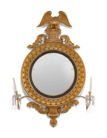 A LARGE ENGLISH GILTWOOD CONVEX MIRROR 19TH CENTURY AND LATER