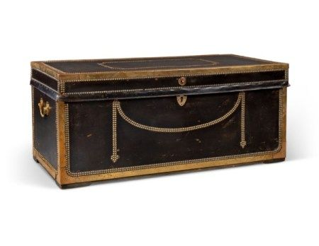 A CHINESE-EXPORT CLOSE-NAIL BRASS-MOUNTED BLACK LEATHER TRUNK LATE 19TH CENTURY
