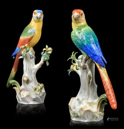 A PAIR OF MEISSEN PORCELAIN MODELS OF PARROTS SECOND HALF 19TH CENTURY, BLUE CROSSED SWORDS MARKS, ONE INCISED 63X AND IMPRESSED 121, THE OTHER INCISED 63 AND IMPRESSED 76
