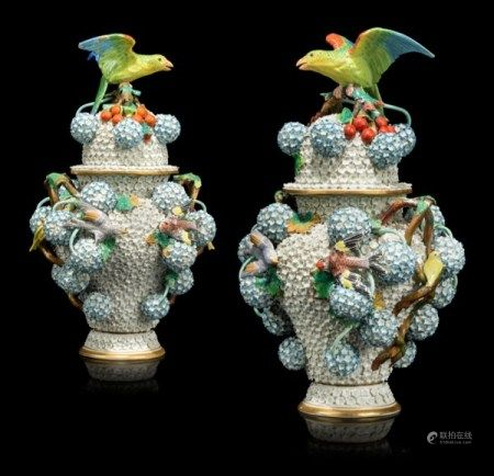 A PAIR OF CONTINENTAL PORCELAIN 'SCHNEEBALLEN' VASES AND COVERS LATE 19TH CENTURY, SPURIOUS BLUE CROSSED SWORDS MARK