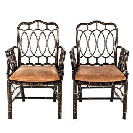 Pair of Baker Furniture Georgian Style Arm Chairs