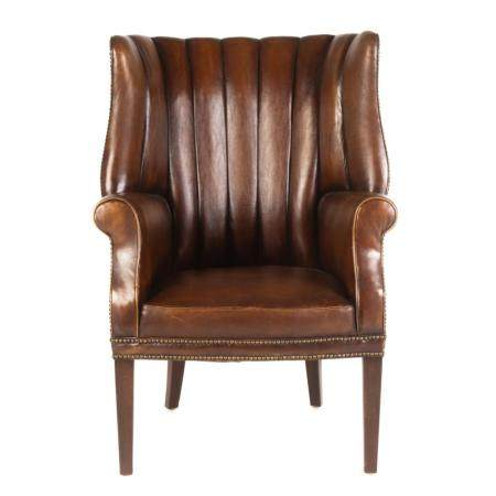 A Georgian Style Leather Channel Back Arm Chair