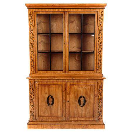 Biedermeier Inlaid Satin Wood China Cupboard