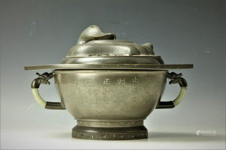A Duck Shaped Chinese Tin or Pewter Lidded Pot with Handles