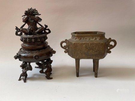 A Southeast Asian Insense Burner and Brass Legged Ding