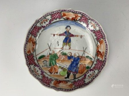 A Porcelain Plate with Ancient Chinese Folk Acrobatic Show