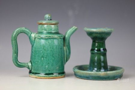 Group of Green Glazed Chinese Teapot and Candle Holder