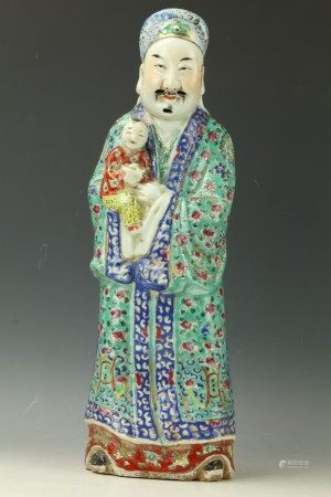 A Chinese Famille Rose Porcelain Figure God of Prosperity