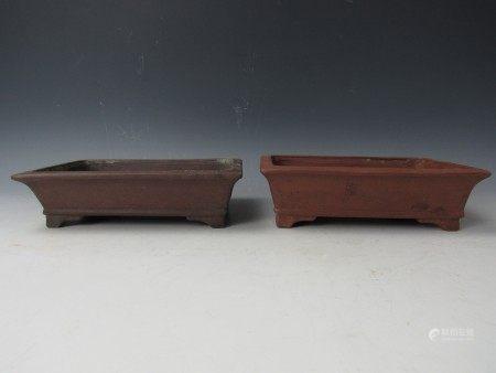 Two Chinese Purple Sand Clay Daffodil Bonsai Pots