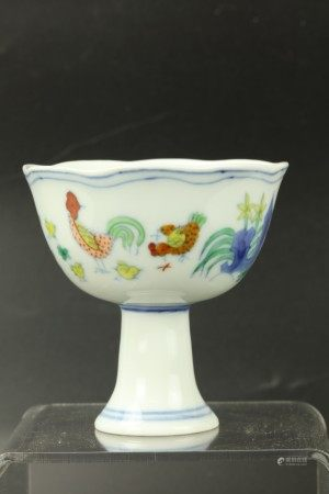 A Chinese Doucai Porcelain Stem Cup