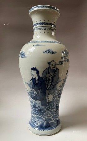 A Chinese Blue and White Vase Eight Immortals Scene