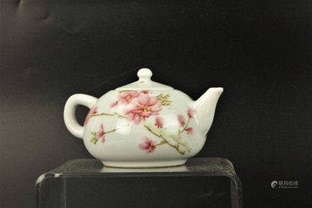 A Chinese Famille Rose Porcelain Tea Pot Plum Blossom Floral