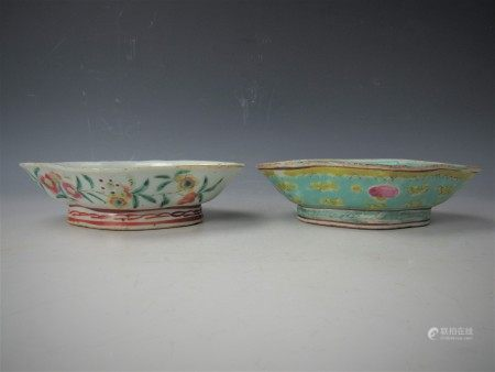 Two Chinese Boat Shaped Famille Rose Porcelain Trays