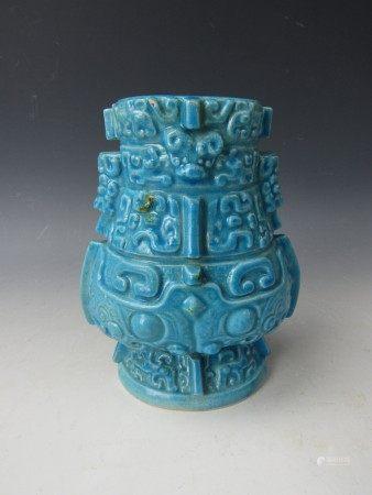 A Chinese Glazed Blue Porcelain Vessel