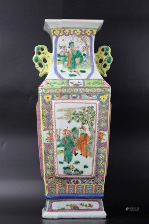A Chinese Famille Rose Vase with Ancient Chinese Scenes