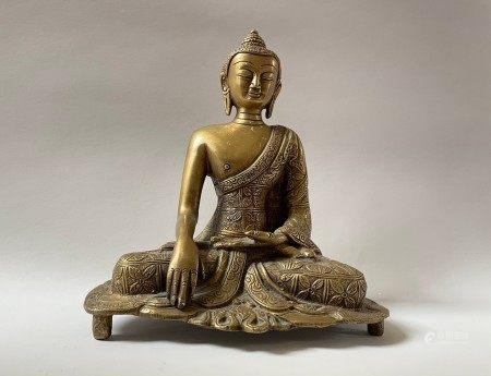 A Chinese Antique Brass Sitting Shakyamuni Buddha Sculpture