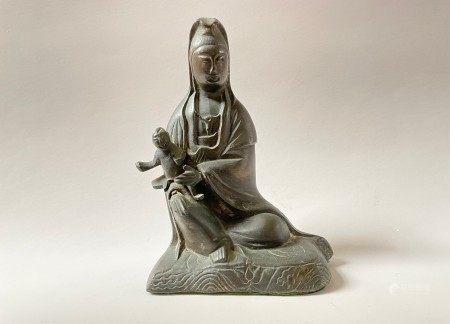 A Chinese Brass Guanyin Buddha Sculpture