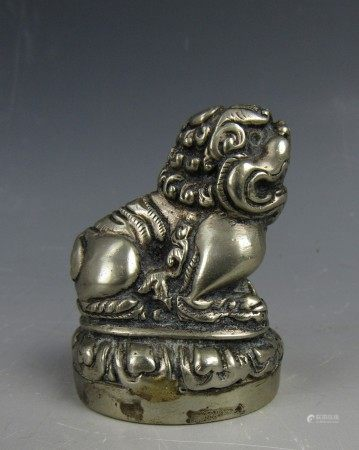 A Chinese Metal Lion Paper Weight Statue with Bottom Insignia