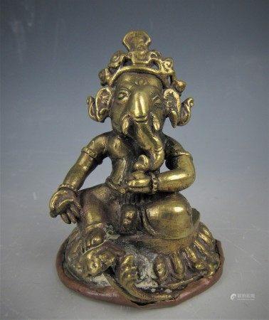 A Brass Indian God Ganesha Figurine Sculpture