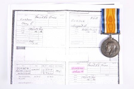 A WWI WAR MEDAL TO OLIVE M GORDON NURSE FRENCH RED CROSS
