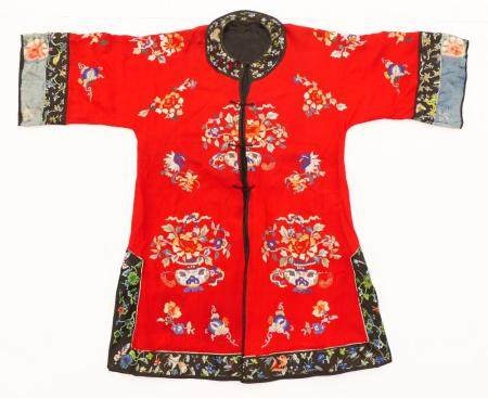 Old Chinese Silk Embroidered Red Robe