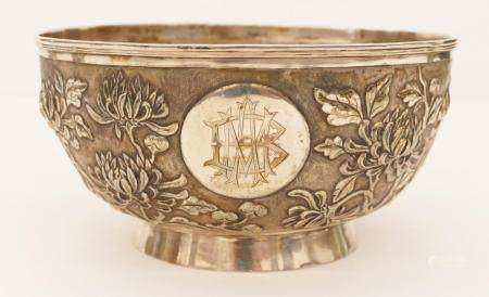 Chinese Export Silver Chrysanthemum Bowl