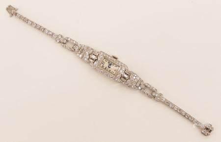 Lady's Patek Philippe Platinum & Diamond Band Wristwatch