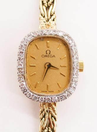 Lady's Omega 14k Diamond Wristwatch