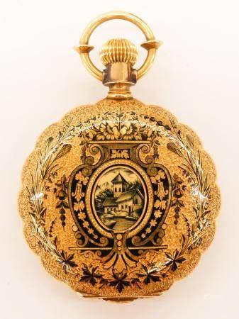 Antique 18k Niello Cased Elgin Pocket Watch