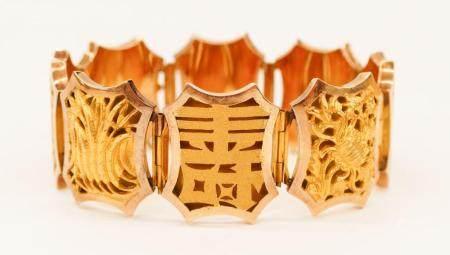 Chinese 18k Gold Four Seasons Bracelet