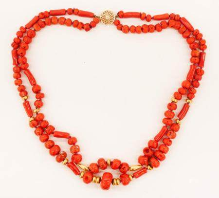 Chinese 14k Natural Red Coral Necklace