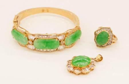 3pc Chinese 18k Jadeite and Diamond Jewelry Suite