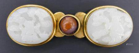 Chinese Ming Jade and Carnelian Buckle