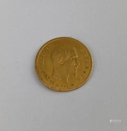 Pièce de 10 Francs or Napoléon III tête nue de 1857  Poids : 3.2 g