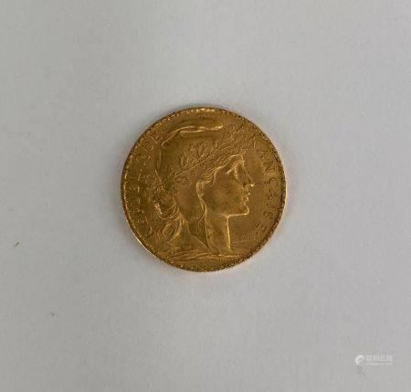 Pièce 20 F or au coq de 1906 Poids : 6.4 g
