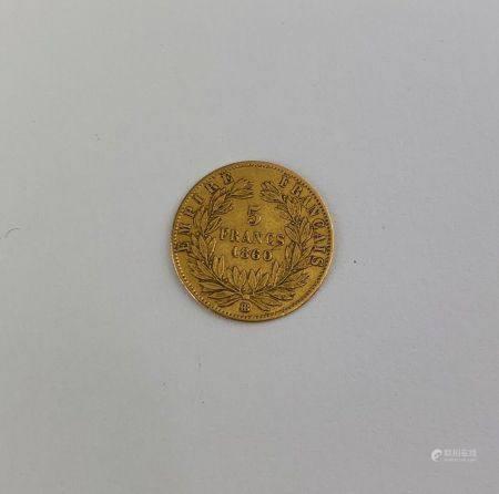 Pièce de 5 Francs or Napoléon III tête nue de 1860 Poids : 1.6 g