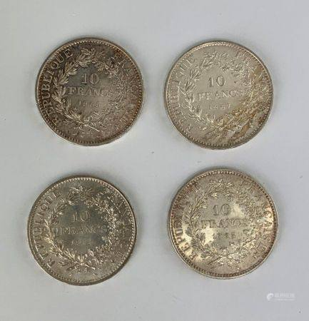 Ensemble de quatre pièces de 10 Francs Hercules en argent  Poids : 100.1 g