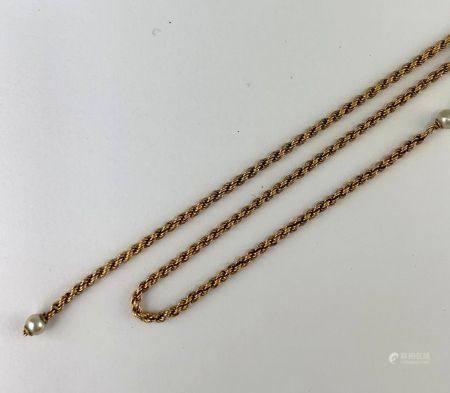 Collier en or jaune (750 millièmes) à deux brins, maille corde alternée de 5 petites perles de