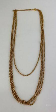 Collier en or jaune (750 millièmes) maille anneau en quatre brins Poids : 13.8 g.